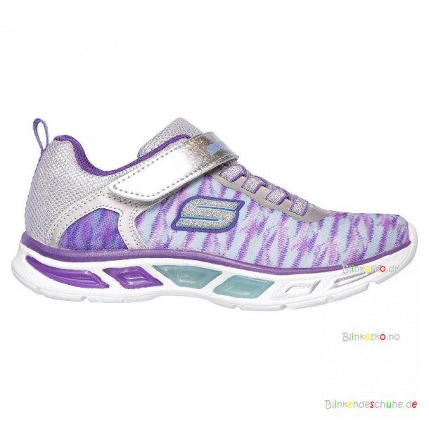 Skechers 10767 Girls Litebeams Colorburst Blinkesko Silver/Purple