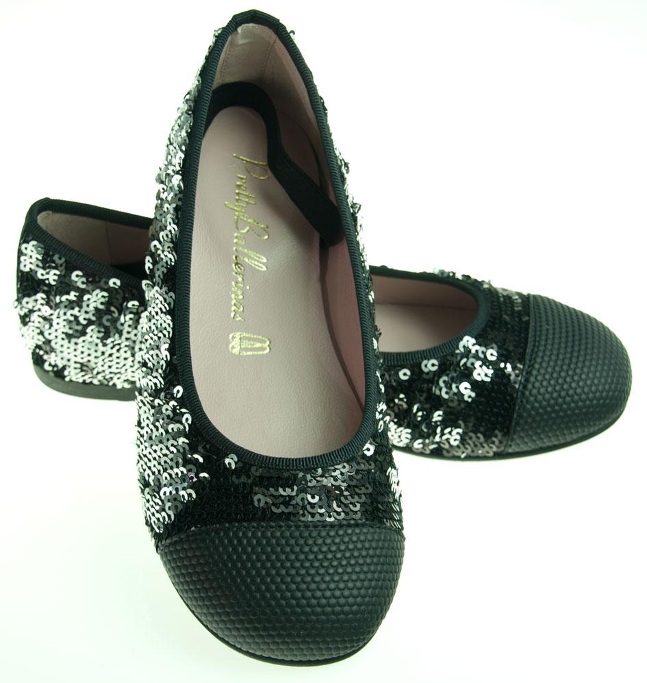 pretty ballerinas silber schwarz pailletten ballerinas f r kinder. Black Bedroom Furniture Sets. Home Design Ideas