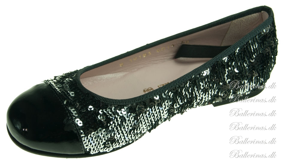 pretty ballerinas silber schwarz pailletten lack. Black Bedroom Furniture Sets. Home Design Ideas