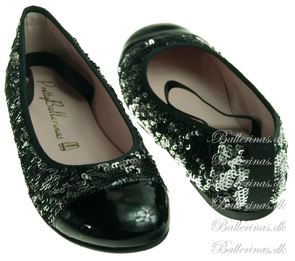 pretty ballerinas silber schwarz pailletten lack ballerinas f r kinder. Black Bedroom Furniture Sets. Home Design Ideas
